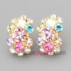 Colorful stud earrings with zinc alloy decorated multicolor rhinestone