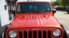 JEEP WRANGLER DISTRESSED AMERICAN FLAG HOOD DECAL FOR JK TJ YJ CJ.  <3!!!