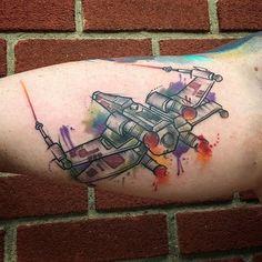 xwingfighter starwars starwarstattoo watercolorstarwarstattoo xwingfightertattoo watercolor watercolour watercolorart… by d_bakertattoos - instaview.me