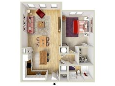 1 bedroom - Rosette floor plan - rendering - Brand new apartments! Apartment Plans, First Apartment, Sims House Design, Sims 4 Houses, Tiny Living, House Floor Plans, Renting A House, Flooring, Small Homes