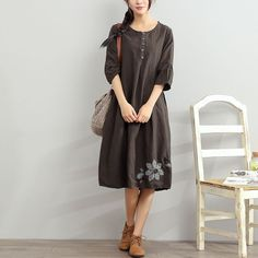 Floral Cotton Women Linen Loose Round Neck Coffee Dress