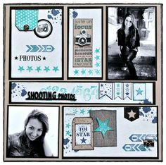 Page Challenge - use project life style cards, but put them on a background page of cardstock Scrapbook Sketches, Scrapbook Page Layouts, Scrapbook Paper Crafts, Scrapbook Cards, Scrapbook Rooms, Envelopes, Mini Albums Scrap, Multi Photo, Photo Layouts