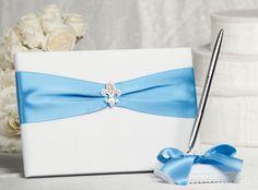 Fleur de Lis Guest Book with custom color ribbon