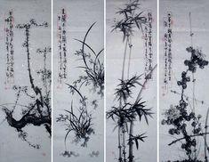 The Four Gentlemen: Plum Blossom. Orchid, Bamboo, Chrysanthemum