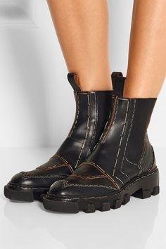 Buy Balenciaga Women's Black Topstitch Leather Chelsea Boots