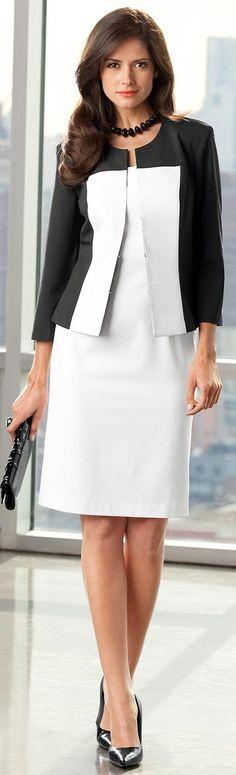 Vestido blanco y chaqueta negra y blanco