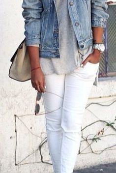 jean jacket + white jeans