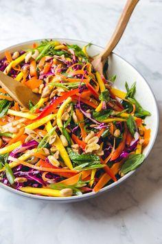 Thai-Inspired Salad With Mango and Cabbage salad salad salad recipes grillen rezepte zum grillen Mexican Salad Recipes, Cabbage Salad Recipes, Fruit Salad Recipes, Asian Recipes, Vegetarian Recipes, Cooking Recipes, Healthy Recipes, Red Cabbage Salad, Papaya Recipes Vegan