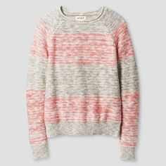 Girls' Stripe Sweater Cat & Jack- Pink And Grey L, Girl's