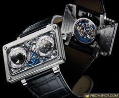 MB&F or Maximilian Büsser & Friends watch is a piece of art created by the American artist Sage Vaughn. It features a bright blue butterfly trapped in the movement and it has no hope of escaping, because the complicated movement is wrapped in barbed wire. This emotionally charged piece interpretation of MB&F's Horological Machine N°2. This most expensive luxury watch was auctioned at the Monaco Only Watch auction on 24 September 2009 under the patronage of HSH Prince Albert II.