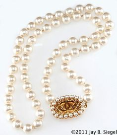 "(via CHANEL 29"" Pearl Quilted CC Clasp Necklace 