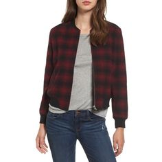 Women's Bb Dakota Alessia Plaid Bomber Jacket (350 BRL) ❤ liked on Polyvore featuring outerwear, jackets, black, plaid jacket, sporty jacket, wool bomber jacket, floral-print bomber jackets and tartan jacket