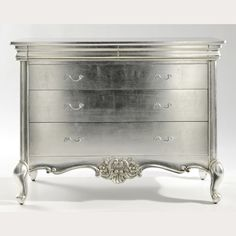 Crafted by hand from solid mahogany and finished in a beautiful silver leaf. Truly classic and will complement any setting, or when paired up with our Cristal French silver leaf bedroom furniture Mahogany Furniture, Decor, Painted Furniture, Dresser Decor, Furniture, French Furniture Bedroom, Find Furniture, Silver Leaf, Carved Furniture