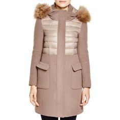 BCBGMAXAZRIA Mixed Media Coat with Fur Trim ($598) ❤ liked on Polyvore featuring outerwear, coats, taupe, long sleeve coat, fur hooded coat, quilted coat, fur-trimmed coat and feather coat