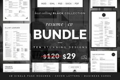 Resume/CV Bundle - Black Collection by bilmaw creative on @creativemarket