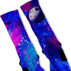 Galaxy Moon Custom Nike Elite Socks on www.FreshElites.com