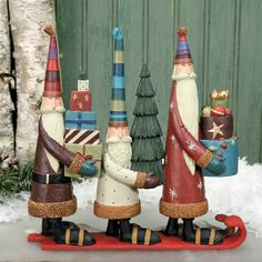 Folk Art Santa's Figurine - Christmas Folk Art & Holiday Collectibles - Williraye Studio