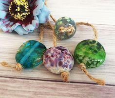 Handmade Lampwork Glass Beads From Murano Glass Multi-Color Round 4 Pcs #HandmadeLampworkBeads #Lampwork