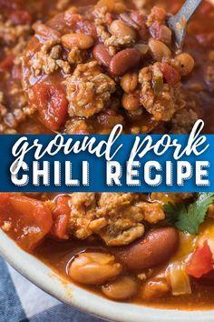 Pork Chili Ground Pork Chili Recipe - This easy pork chili is full of flavor. It's the best chili recipe ever!Ground Pork Chili Recipe - This easy pork chili is full of flavor. It's the best chili recipe ever! Best Chili Recipe Ever, Pork Chili Recipe, Favorite Chili Recipe, Chilli Recipes, Meat Recipes, Cooking Recipes, Venison Recipes, Favorite Recipes, Ground Pork Sausage Recipes