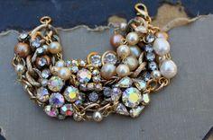 Vintage AB Rhinestone and Pearl Layered Assemblage Bracelet