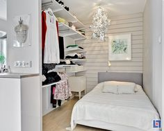 This bedroom is part of a 1-room apt in Sweden. Totally inspiring how such a small amt of space can be used so efficiently & look so stylish!