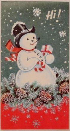 Unused Glittered Snowman Says Hi Vintage Christmas Card 1000 Christmas Card Images, Vintage Christmas Images, Christmas Graphics, Christmas Scenes, Vintage Holiday, Christmas Greeting Cards, Christmas Pictures, Christmas Greetings, Christmas Postcards
