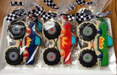 This listing is for one dozen super BIG MONSTER TRUCK Sugar Cookies. Perfect for your moto party! You can totally customize this collection.