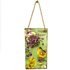 daa880915eb Welcome Spring Easter Rabbit Wood Hanging Board Wall Door Hanger Sign  Decoration Wooden Decor