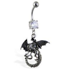 Navel ring with dangling dragon