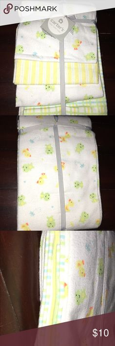 """NWT Carter's Receiving Blanket 4-Pack Frog Duck NWT Carter's Receiving Blankets 4-Pack  40"""" by 30""""  -(2) Frog & Duck Nature Print -Yellow Stripe -Pastels Plaid (Yellow/Blue/Green)  From a Smoke Free & Pet Free Home Carter's Accessories"""