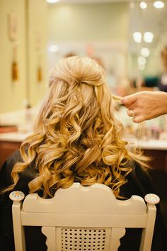 Curly wedding hair.