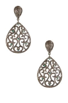 Emerald Accent & Champagne Diamond Filigree Teardrop Earrings from HauteLook on Catalog Spree
