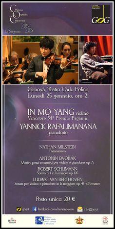 In Mo Yang, violino - 54° Vincitore Premio Paganini. Yannick Rafalimanana, pianoforte. Lunedì 25 gennaio 2016, Teatro Carlo Felice, Genova #Genova #gog1516
