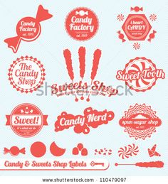Vector Set: Candy Shop Labels and Stickers with Silhouette Graphics by James Daniels, via ShutterStock