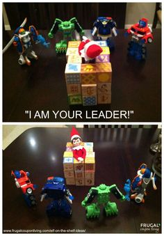 """I am your leader"" the Elf on the Shelf. Dozens of Easy and Creative The Elf on the Shelf Ideas found on Frugal Coupon Living."