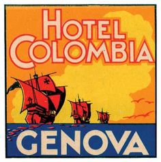 Vintage Labels. Hotel Colombia