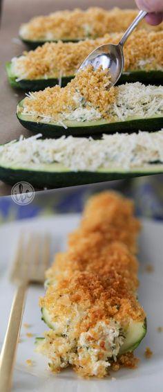 Cheese Stuffed Zucchini - zucchini houdini recipe ideas - summer vegetable recipe