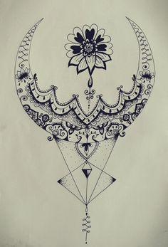 triangle zentangle floral moon mandala tattoo design.