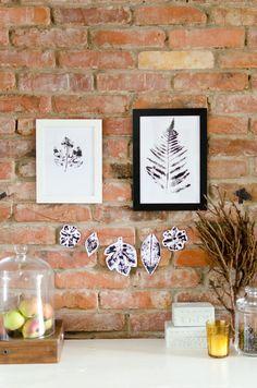 Basteln mit Kindern für den Herbst mit DIY Pflanzendruck mit Blättern als Herbstdeko für die Wohnung