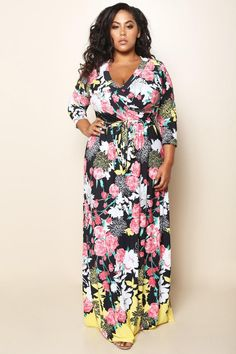A breathtaking plus size maxi dress, styled with a surplice neckline and 3/4 sleeves. A self-tie bow at the waist defines your silhouette, while the free-flowing maxi skirt gives you a head-turning, ethereal step.