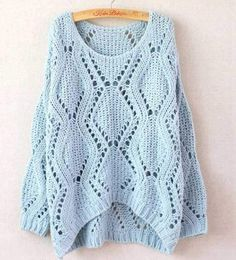 Cheap Leisure Loose Round Neck Argyle Hollow Sweaters For Big Sale!Leisure Loose Round Neck Argyle Hollow Sweaters is made by the soft and comfortable knit cotton blended fabric. Loose Knit Sweaters, Long Sweaters, Sweaters For Women, Knitting Sweaters, Cheap Sweaters, Blue Sweaters, Moda Crochet, Crochet Top, Bikini Crochet