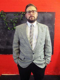 Vintage 1970s Grey Tweed CHECK HOUNDSTOOTH Blazer Jacket Medium/Large