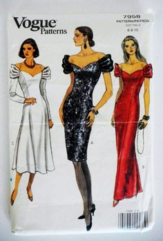 1990s Evening Dress: this sketch from a 90s Vogue issues exemplifies the fact that the 90s were about elongated the figure and showing off the neckline and shoulders.