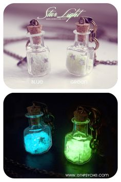 Glow in the dark. Glowing Star light Glass Bottle Necklace, with glass frit and glitter stars. glass Bottle Pendant. Cute necklace. €11.99, via Etsy.