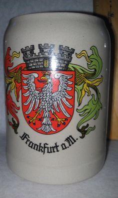 Frankfurt Germany Gerz Beer Stein Mug Extra Large Holds .5 L Vintage