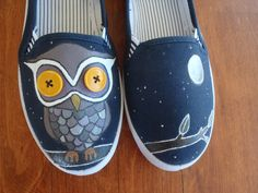 Hand-painted owl shoes