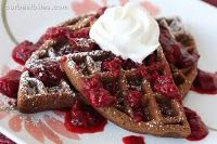 double chocolate waffles with berry sauce- heaven!