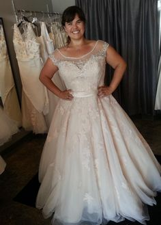 Cap sleeve plus size wedding dresses can have a sheer illusion neckline. This one has small beaded embellishments on the borders and scattered through out the gown. The modified a-line style dress has a large ball gown style skirt. Custom changes can be made to any design by our company. We specialize in custom #plussizeweddingdresses (and replicas) that a bride can afford. Get pricing on any picture & more info on our designs at www.dariuscordell.com