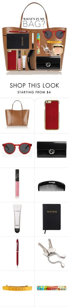 """""""What's in My Bag??"""" by miss-image ❤ liked on Polyvore featuring Dolce&Gabbana, Illesteva, Gucci, NARS Cosmetics, MAC Cosmetics, Cross, Georg Jensen, Chanel, H&M and inmybag"""