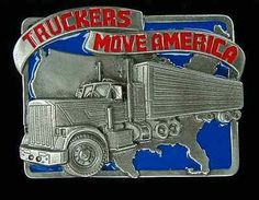 TRUCKERS MOVE AMERICA BELT BUCKLE BUCKLES NICE!